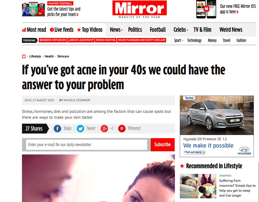 The Mirror: 'If you've got acne in your 40s we could have the answer to your problem'